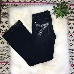 7FAM Dojo Dark Wash Flare Jeans Size 32x34